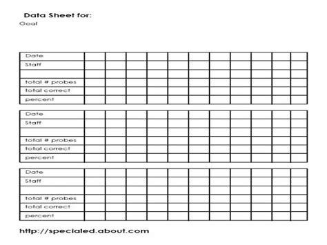 Templates For Data Collection | iep goals data collection sheet template special education