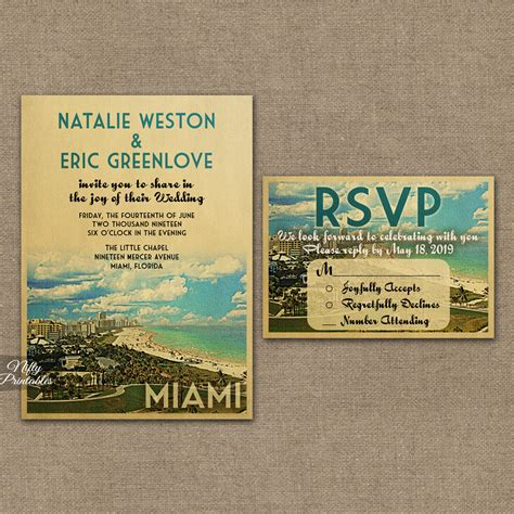 Wedding Invitations Miami miami florida wedding invitations vtw nifty printables