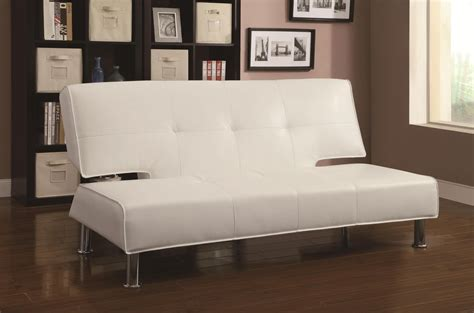 Sofa Bed White Leather Coaster 300296 White Leather Sofa Bed A Sofa Furniture Outlet Los Angeles Ca