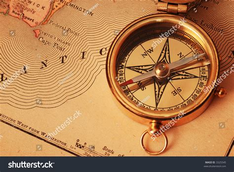 map of usa with compass antique brass compass usa map background stock