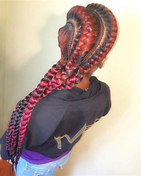red cornrow braided hair 31 goddess braids hairstyles for black women page 3 of 3