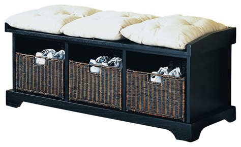 Black Cushioned Bench Monarch Specialties I 8943 Distressed Black Cushioned