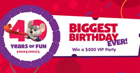 Biggest Sweepstakes - win a 500 vip party during chuck e cheese s biggest birthday ever