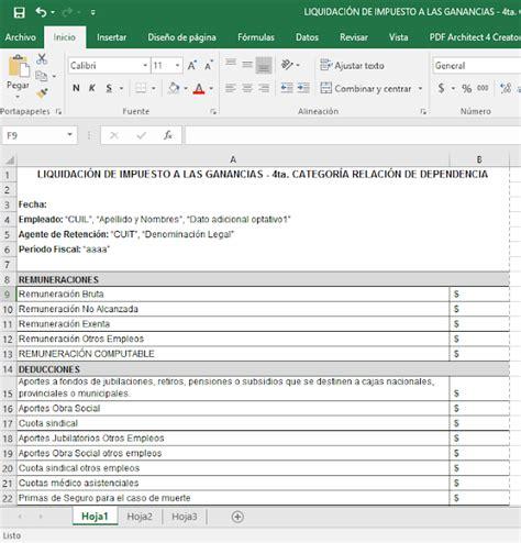 calculadora ganancias 2016 ignacio online excel quot liquidaci 243 n de impuesto a las ganancias 4ta