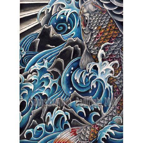 koi tattoo without water koi in waterfall art print by sebastian orth japanese
