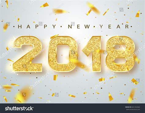 new year 2018 number 2018 happy new year gold numbers 스톡 벡터 661254364
