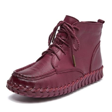 Boots Hitam Leather Grain Size 35 7 colors antumn winter boots vintage genuine leather soft outsole shoes handmade