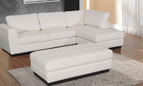 opal sectional sofa in white bonded leather match