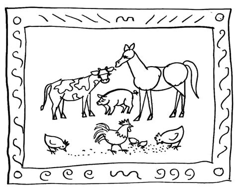 farm scene barn coloring page coloring pages