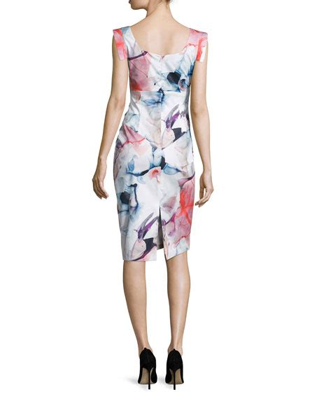 Printed Sleeve Sheath Dress black halo cap sleeve printed sheath dress