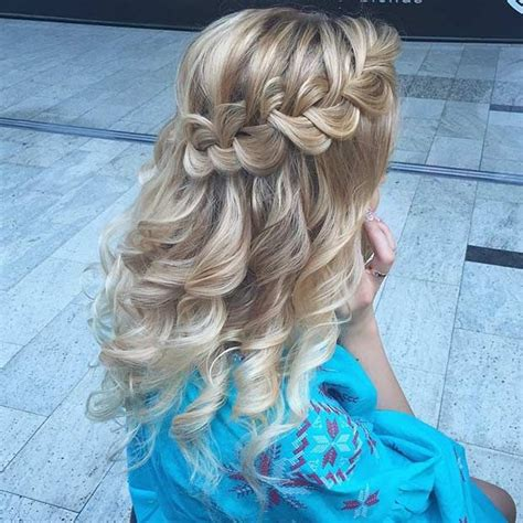homecoming hairstyles half up curly with braid 31 half up half down prom hairstyles dutch braids