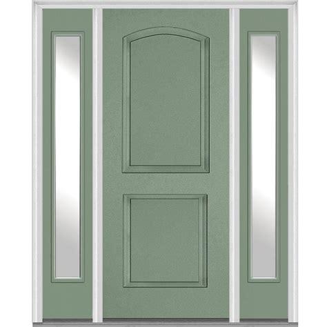 2 Panel Exterior Door Mmi Door 68 5 In X 81 75 In 2 Panel Archtop Painted Fiberglass Smooth Exterior Door With