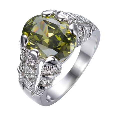 aliexpress rings aliexpress com buy male peridot ring white gold filled