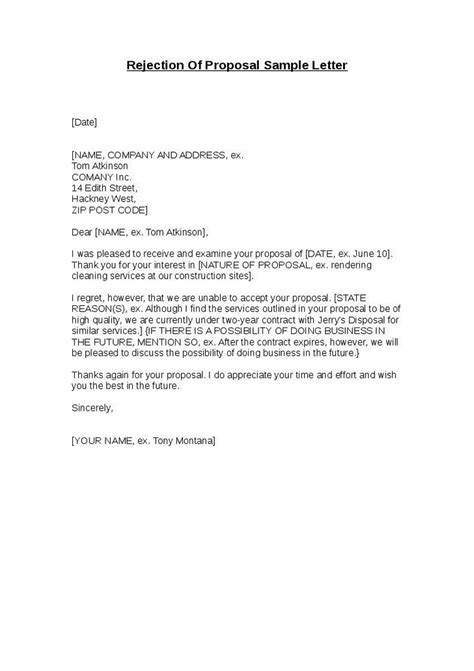 Rfp Decline Letter Exles Rejection Letter Sle