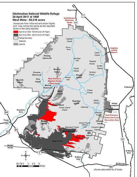 okefenokee sw map of wildfire in okefenokee refuge grows past 90 square
