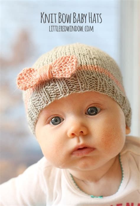 easy to knit baby hat knit bow baby hats window