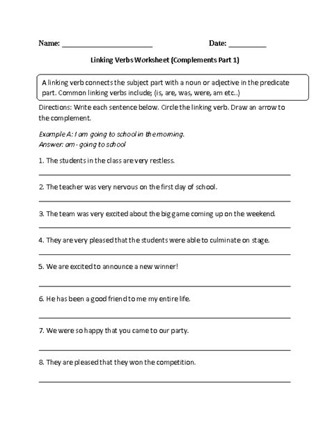 verb complement worksheet linking verbs and complements worksheet school