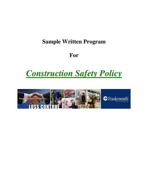 Free Workplace Policy Template by 8 Free Workplace Safety Policy Templates Pdf Free