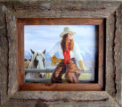 teas vaquero western frame with barbed wire quality