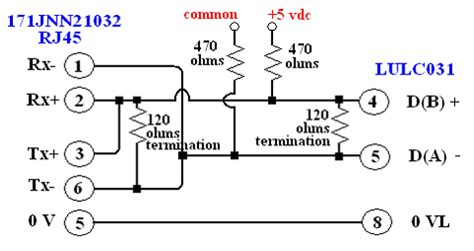 rs485 wiring diagram from a 172jnn21032 port 2 rj45 to