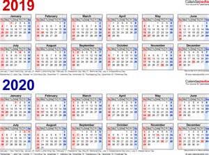 Calendar 2019 And 2020 2019 2020 Calendar Free Printable Two Year Word Calendars