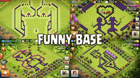 coc layout funny funny base design compilation part 1 clash of clans