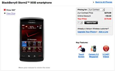 Chassing Blackberry 9500 blackberry storm2 9550 now available on verizon for 179 99 on 2 year contract intomobile