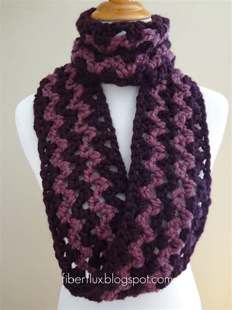 fiber flux free crochet pattern pinot noir infinity scarf