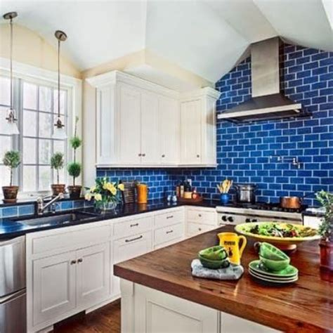 blue tile kitchen backsplash 35 ways to use subway tiles in the kitchen digsdigs