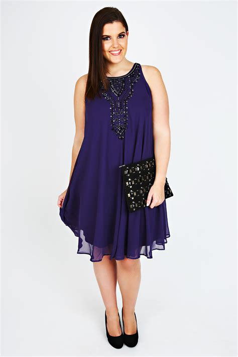 purple swing dress purple chiffon sleeveless swing dress with black bead