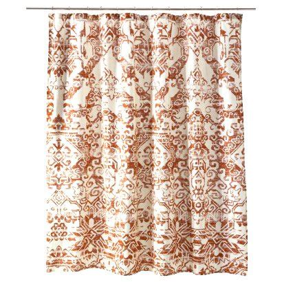 terracotta shower curtain threshold aztec rust fabric shower curtain target