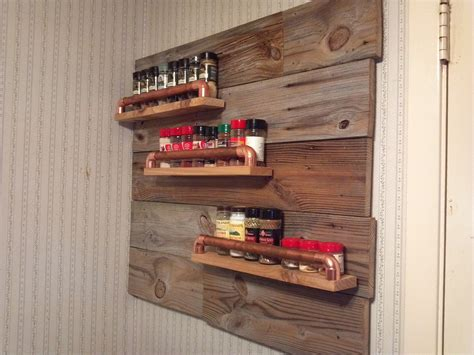 diy barn wood spice rack rustic spice rack with wood and copper pipe for