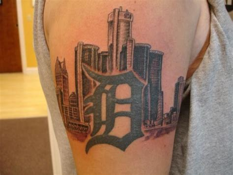 detroit skyline tattoo skyline placement smaller in size emerald city