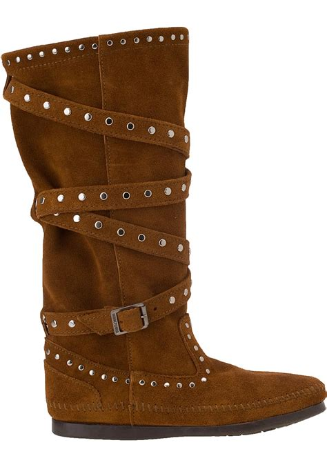 minnetonka studded boot brown suede in brown lyst