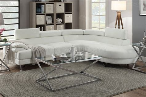 Faux Leather Sectional Sofa by F6985 Sectional Sofa In White Faux Leather By