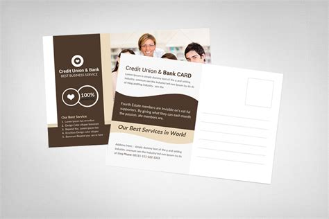 cu business card template credit union bank postcard card templates on creative