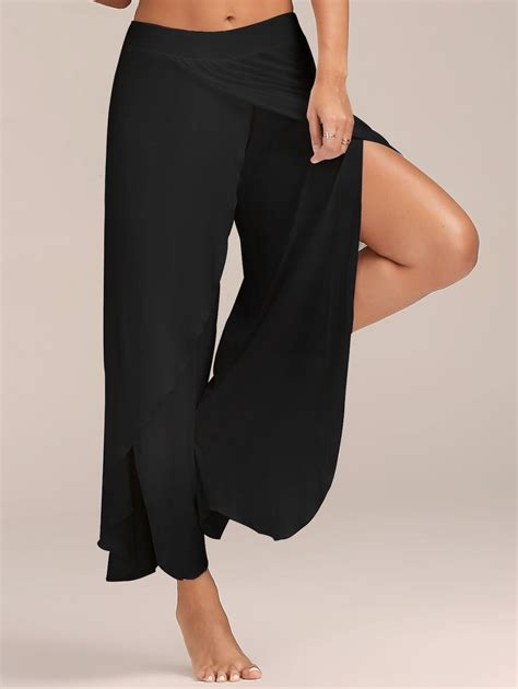 Black Slit Wide Leg Trousers Size M L black flowy high slit layered wide leg gamiss