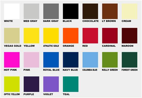 ink color chart specialtee sportswear
