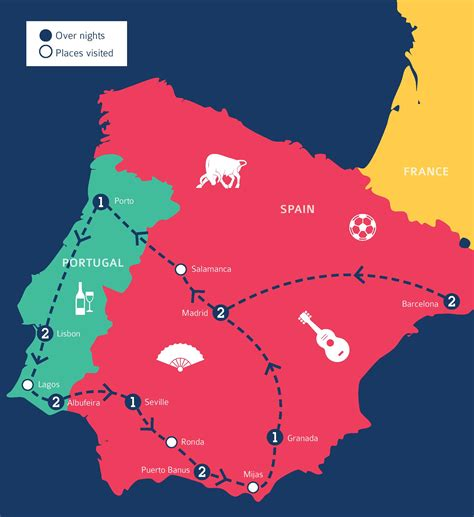 spain and portugal map spain and portugal tour packages c the world