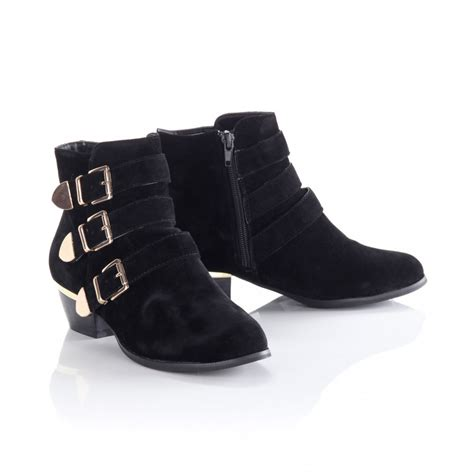 s black suede three gold buckle ankle boots