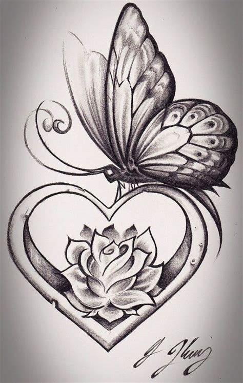 butterfly and heart tattoos 55 butterfly flower tattoos