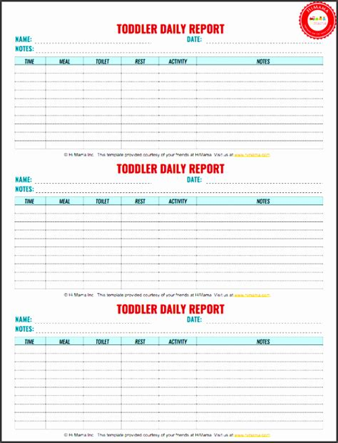 nanny daily log template 8 blank daily report template sletemplatess