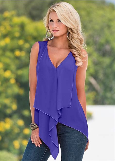 purple ruffle front blouse from venus fashion for