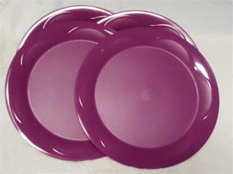 tupperware 4 purple dinner plates set new open house