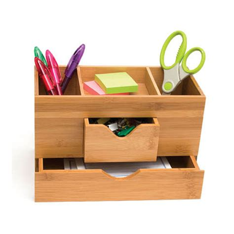 Bamboo Three Tier Desk Organizer In Desktop Organizers Desk Organizer