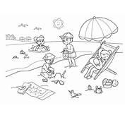 Children Enjoying Hawaiin Beach Coloring Page  NetArt