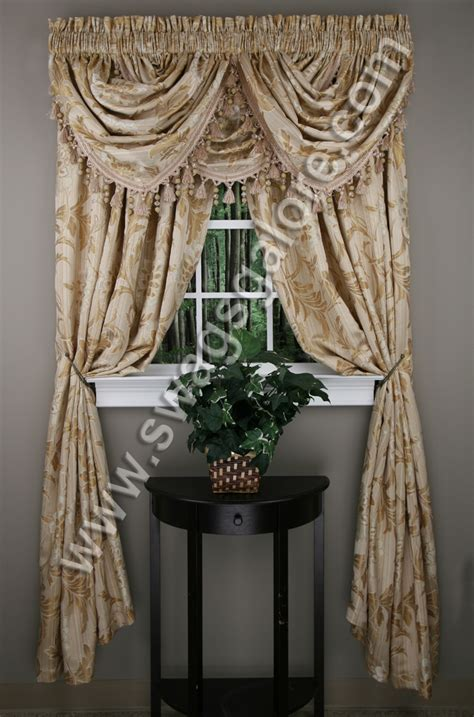 Burgundy Swag Curtains Jacquard Panel Burgundy Luxury Home Textiles View