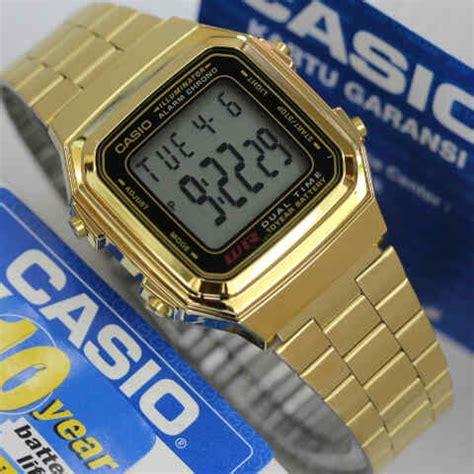 Jam Warna jam tangan casio warna gold a 178 original untuk wanita