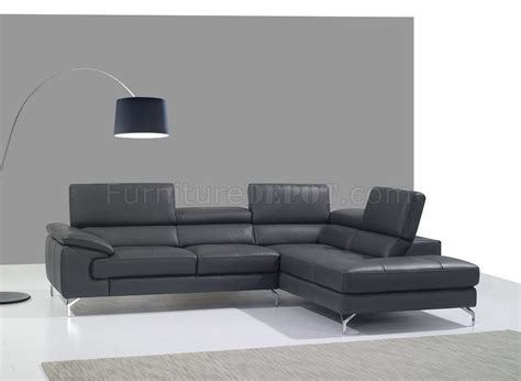 a973 sofa sectional in slate grey premium leather by j m