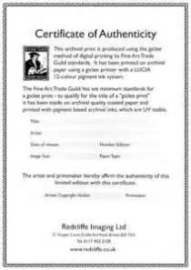Certification Letter Authenticity certificates